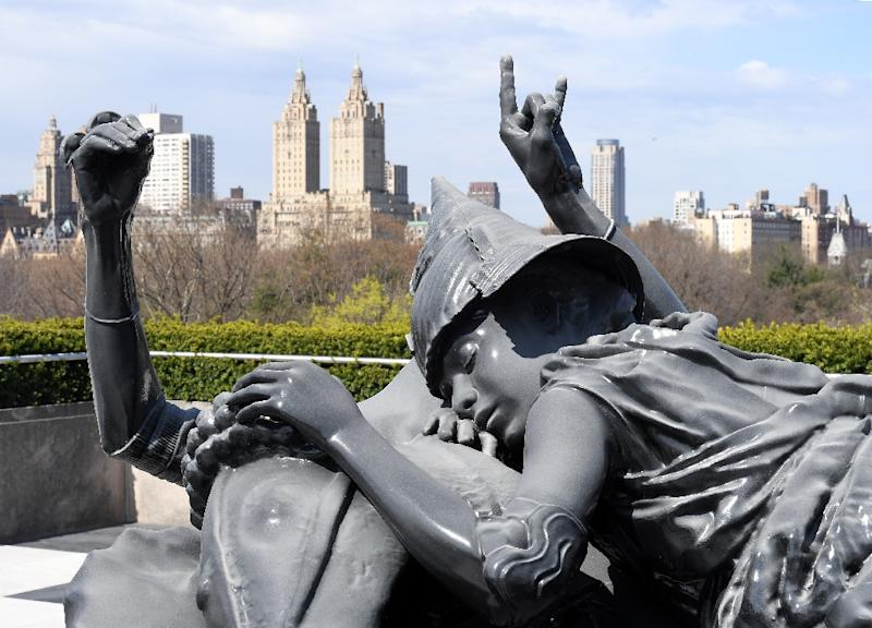 A sculpture installation by Argentinian artist Adrian Villar Rojas on display on the rooftop of the Metropolitan Museum of Art in New York