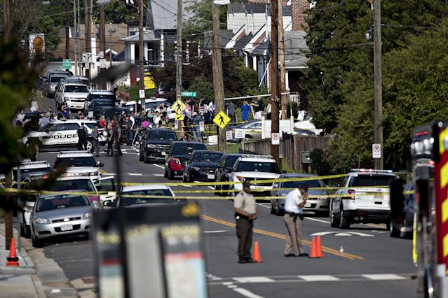<p>Crime scene tape lines a road near the Eugene Simpson Stadium Park in Alexandria, Virginia, U.S., on Wednesday, June 14, 2017. (Photo: Andrew Harrer/Bloomberg via Getty Images) </p>