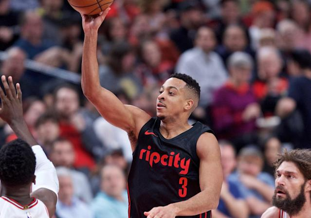 The Bulls had no answers for CJ McCollum on Wednesday. (AP Photo/Craig Mitchelldyer)