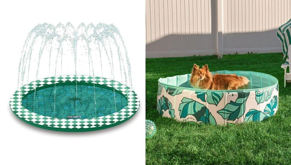 From tropical prints to supersize options, these cool swimming pools will keep your pet entertained.