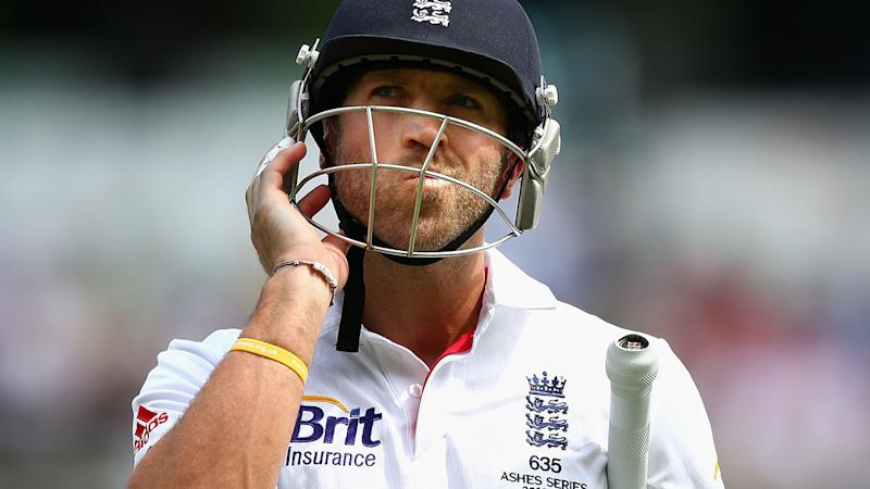 Matt Prior, pictured here after being dismissed by Nathan Lyon in 2013.