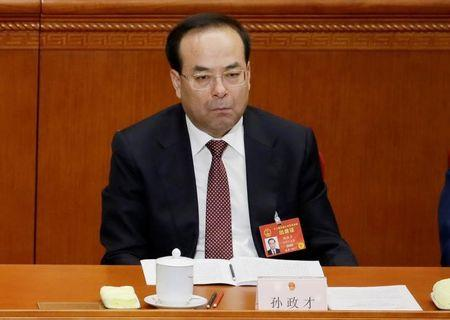 FILE PHOTO: Chongqing Municipality Communist Party Secretary Sun Zhengcai attends the opening session of China's National People's Congress (NPC) at the Great Hall of the People in Beijing, China, March 5, 2017. Picture taken on March 5, 2017. REUTERS/Jason Lee/File Photo