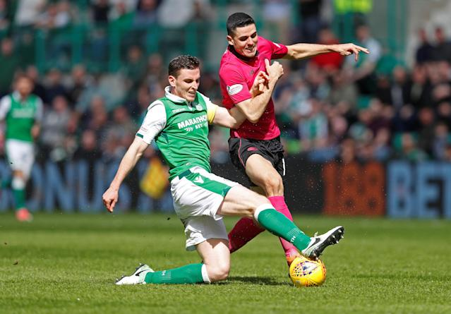 Soccer Football - Scottish Premiership - Hibernian v Celtic - Easter Road, Edinburgh, Britain - April 21, 2018 Hibernian's Paul Hanlon in action with Celtic's Tom Rogic REUTERS/Russell Cheyne