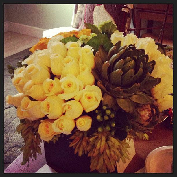 """Larry Jones, the president of #TVLand, sent these gorgeous flowers. Look at those heartaches!"""