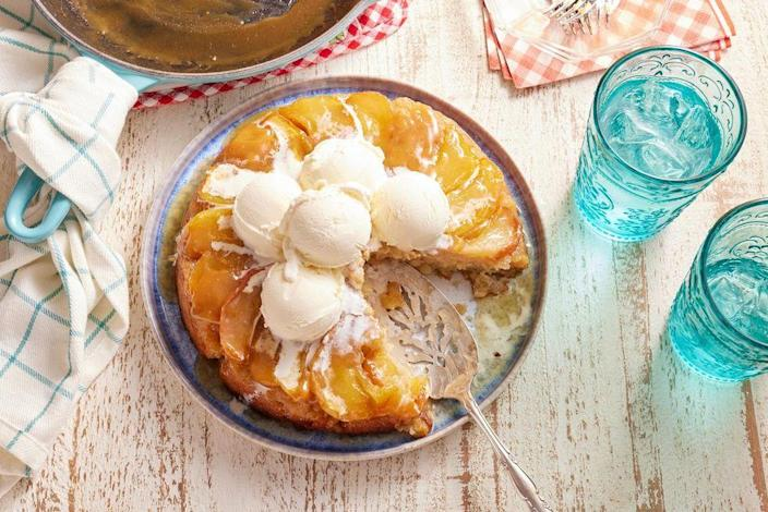 """<p>This seasonal apple cake is what Ree Drummond calls a """"Keeper Recipe."""" It's one you'll turn to time and time again.<br></p><p><strong><a href=""""https://www.thepioneerwoman.com/food-cooking/recipes/a8892/apple-cake-in-an-iron-skillet/"""" rel=""""nofollow noopener"""" target=""""_blank"""" data-ylk=""""slk:Get the recipe."""" class=""""link rapid-noclick-resp"""">Get the recipe.</a></strong></p>"""