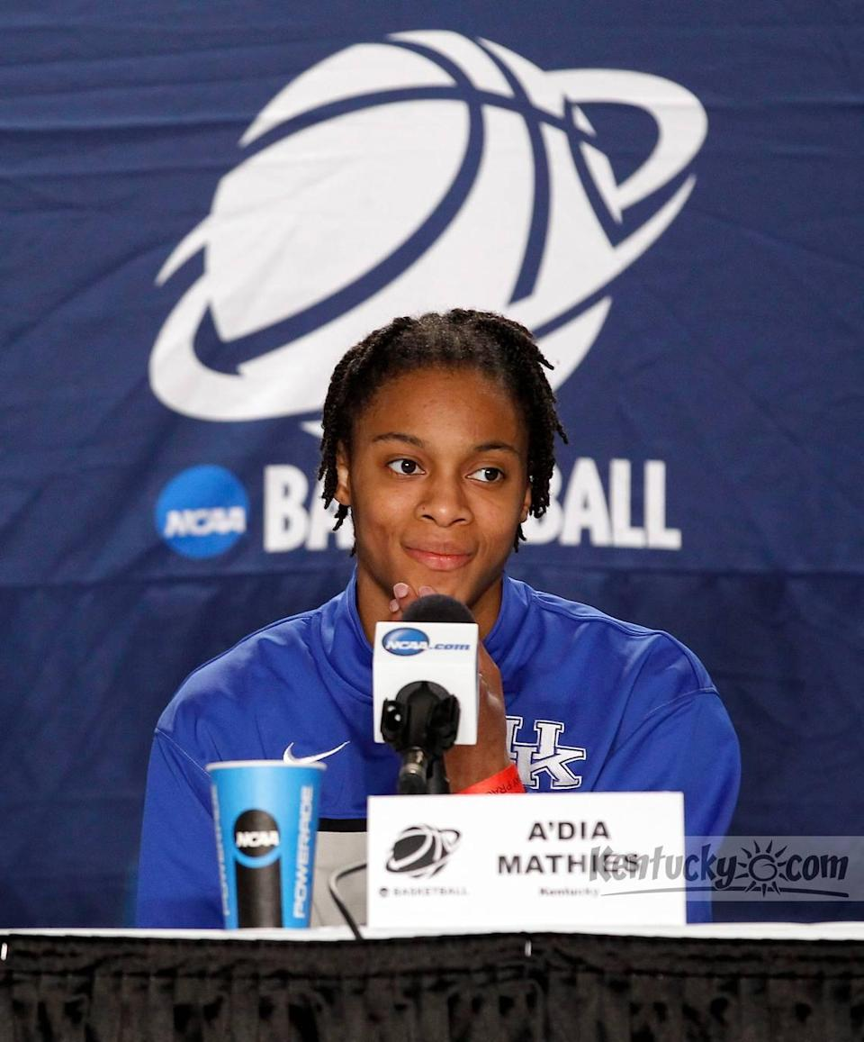"""With A'dia Mathies on the Kentucky roster (2009-13), the Wildcats went 10-4 in NCAA Tournament games and reached three Elite Eights. Since Mathies graduated, UK is 8-6 in the NCAA tourney and has not made it back to the round of eight. """"One of the most incredible things that ever happened for Kentucky women's basketball was A'dia Mathies coming to Kentucky,"""" ex-UK coach Matthew Mitchell says."""