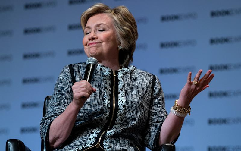 Hillary Clinton speaking at a books event in June