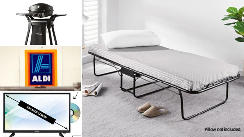 A barbecue, foldable guest bed and a caravan television on sale as Special Buys at Aldi.