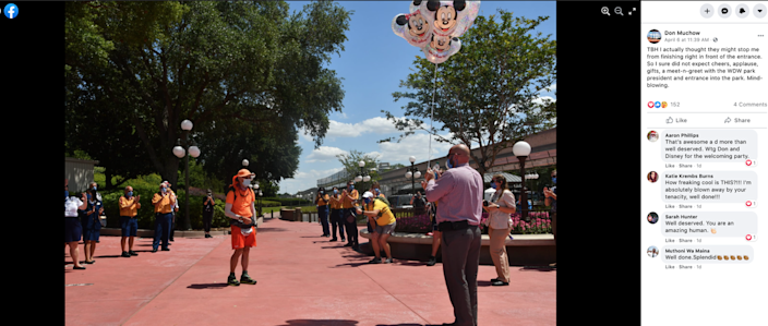 Muchow arrived at Disney World on Tuesday.