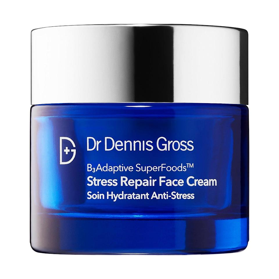 """<p>We're all a little stressed right now, so treat your skin to this <a href=""""https://www.popsugar.com/buy/Dr-Dennis-Gross-Stress-Repair-Face-Cream-Niacinamide-552493?p_name=Dr.%20Dennis%20Gross%20Stress%20Repair%20Face%20Cream%20with%20Niacinamide&retailer=sephora.com&pid=552493&price=72&evar1=bella%3Aus&evar9=45633828&evar98=https%3A%2F%2Fwww.popsugar.com%2Fbeauty%2Fphoto-gallery%2F45633828%2Fimage%2F47263858%2FDr-Dennis-Gross-Stress-Repair-Face-Cream-with-Niacinamide&list1=sephora%2Cbeauty%20shopping%2Cbest%20of%202020%2Cskin%20care&prop13=mobile&pdata=1"""" class=""""link rapid-noclick-resp"""" rel=""""nofollow noopener"""" target=""""_blank"""" data-ylk=""""slk:Dr. Dennis Gross Stress Repair Face Cream with Niacinamide"""">Dr. Dennis Gross Stress Repair Face Cream with Niacinamide</a> ($72).</p>"""