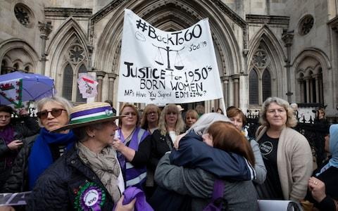 <span>Campaign groups 'Backto60' and '63 Is The New 60' who lost their case against changes to the women's State Pension age, which is due to reach 67 by 2028, outside the high Court</span> <span>Credit: Geoff Pugh </span>