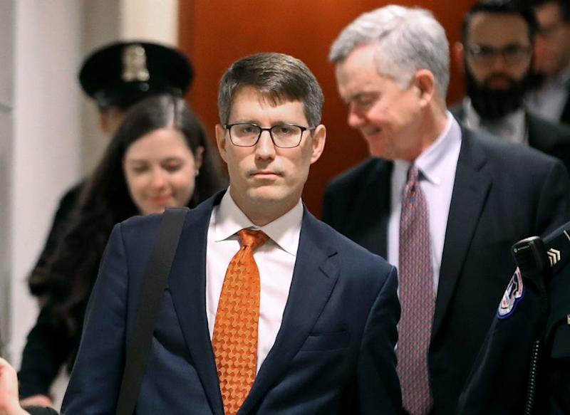 Christopher Anderson, career Foreign Service officer and former adviser to Kurt Volker, the US special envoy to Ukraine, arrives on Capitol Hill to attend a closed-door deposition, on October 30, 2019 in Washington, DC.