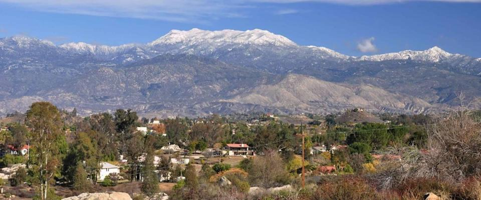 The town of Hemet, California lies at the foot of snow-capped Mount San Jacinto.