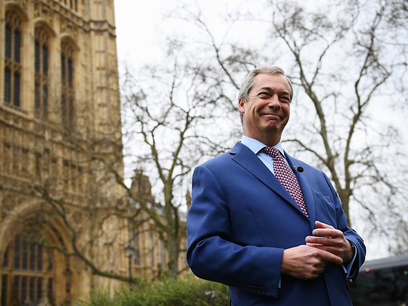 'There'll be lots of arguments and debates over the next two years but we are leaving,' Farage told the BBC outside Parliament: Getty