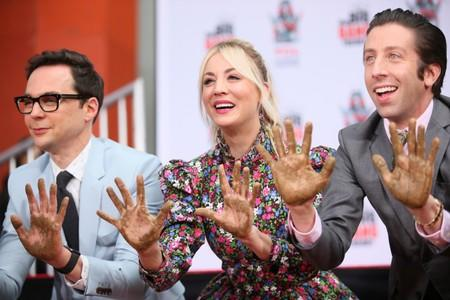 "Actors Jim Parsons, Kaley Cuoco and Simon Helberg participate in the cement handprints ceremony for the cast of the television comedy ""The Big Bang Theory"" at the TCL Chinese Theatre IMAX in Hollywood"