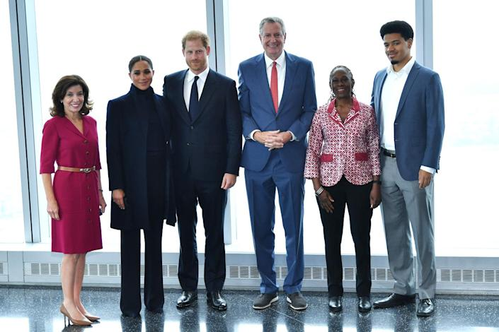 <p>The couple headed up to One World Observatory at the World Trade Center and posed for a group photo with Governor Kathy Hochul, Mayor Bill de Blasio, the Mayor's wife Chirlane McCray and their son Dante de Blasio.</p>