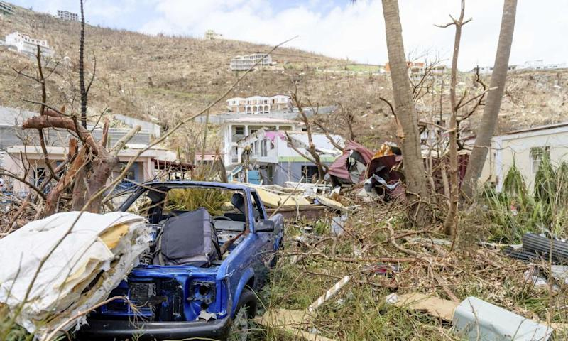 British Ministry of Defence photograph of destruction caused by Hurricane Irma of the British Virgin Islands.