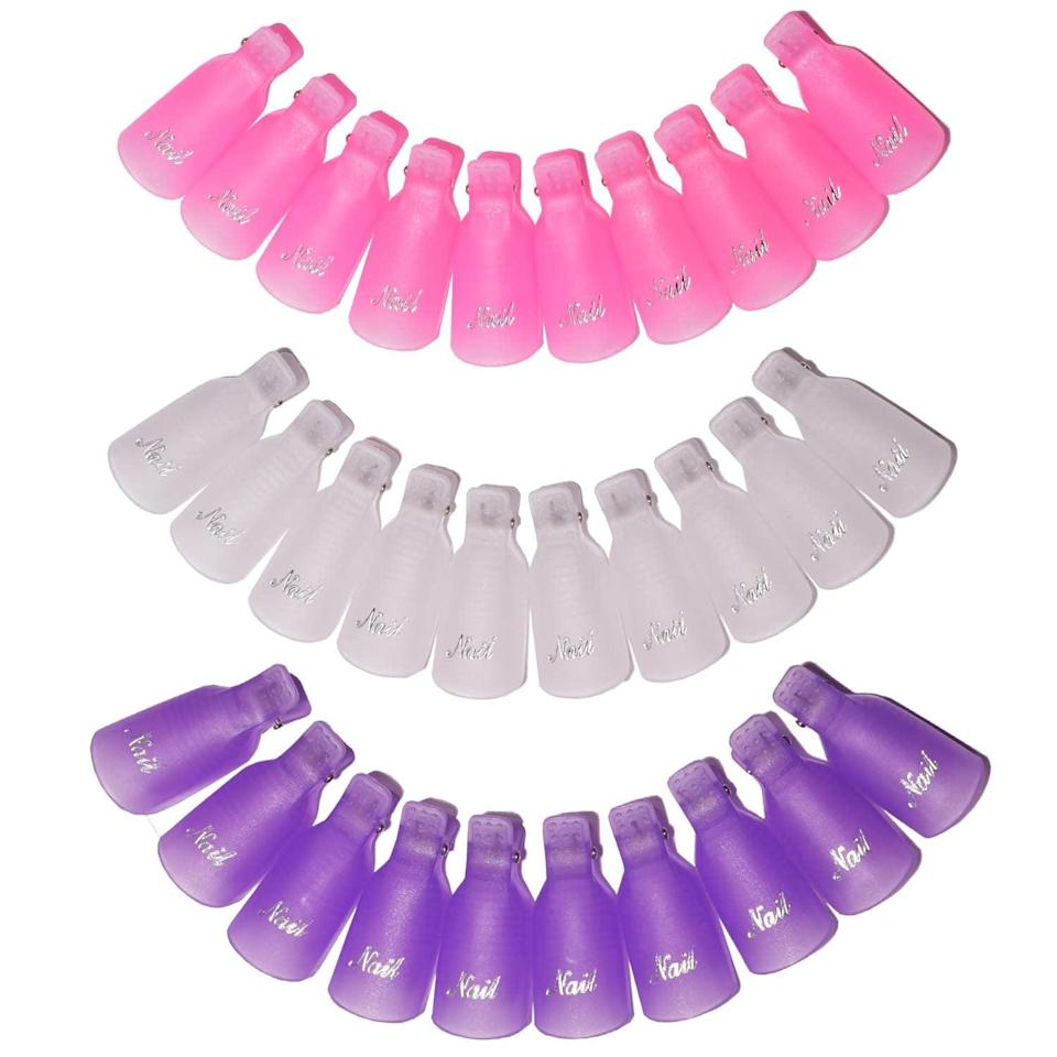 <p>Anyone who has ever attempted to remove their own gel polish knows the struggle of wrapping cotton balls and foil on each digit. This <span>Nail Polish Remover Clips Set</span> ($7) comes with 30 clips to easily soak off your polish. You may feel like Edward Scissorhands, but it's better than dripping remover all over your lap.</p>