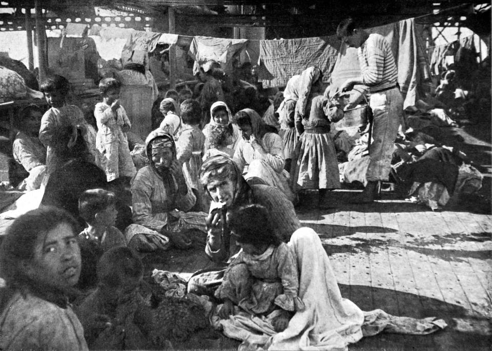 An encampment of Armenian refugees from the Ottoman Empire on the deck of a French cruiser that rescued them in 1915. (Photo: Photo12/UIG/Getty Images)