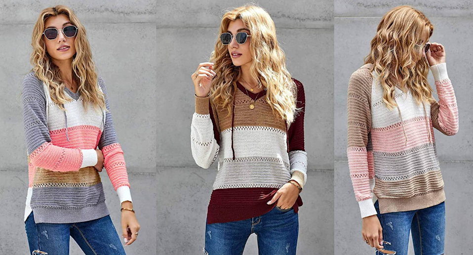 This trending sweater has increased more than 20,000% in sales this week. Images via Amazon.