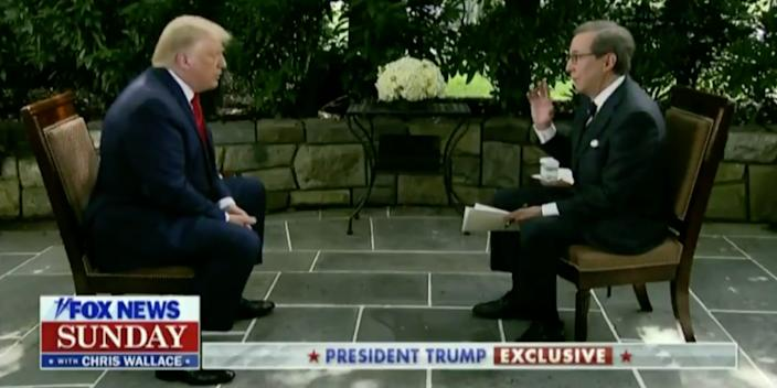 President Donald Trump is interview by Fox News host Chris Wallace