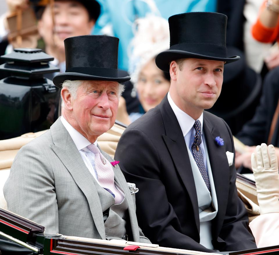 Prince Charles, Prince of Wales and Prince William, Duke of Cambridge attend day one of Royal Ascot at Ascot Racecourse on June 18, 2019 in Ascot, England.