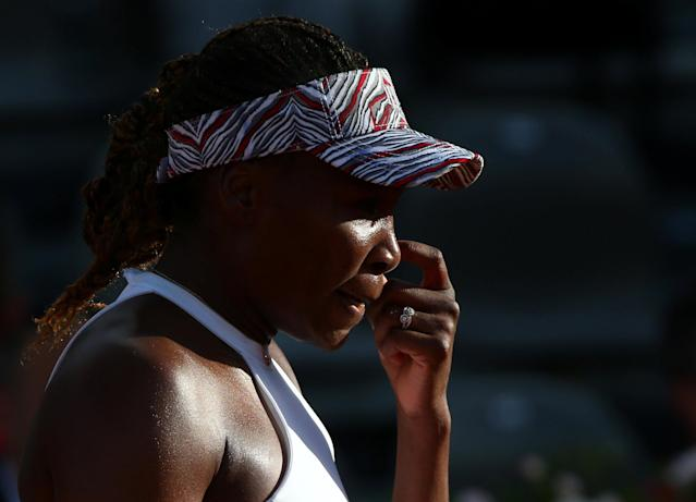 Tennis - WTA Premier 5 - Italian Open - Foro Italico, Rome, Italy - May 16, 2018 Venus Williams of the U.S. during her second round match against Russia's Elena Vesnina REUTERS/Alessandro Bianchi