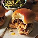 """<p>Mini sliders are a fun weeknight meal the whole family is sure to love. Dijon mustard gives the apricot chutney the perfect amount of peppery tang to complement the grilled chicken.</p> <p><a href=""""https://www.myrecipes.com/recipe/grilled-chicken-sliders"""" rel=""""nofollow noopener"""" target=""""_blank"""" data-ylk=""""slk:Grilled Chicken Sliders and Apricot Chutney Spread Recipe"""" class=""""link rapid-noclick-resp"""">Grilled Chicken Sliders and Apricot Chutney Spread Recipe</a></p>"""