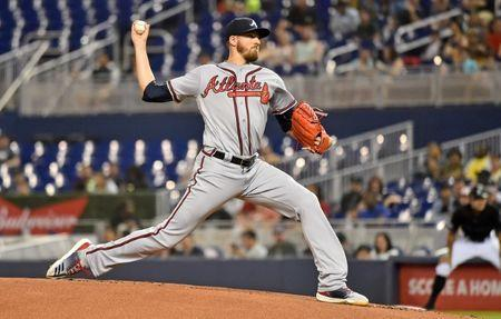 FILE PHOTO: May 3, 2019; Miami, FL, USA; Atlanta Braves starting pitcher Kevin Gausman (45) delivers a pitch in the first inning against the Miami Marlins at Marlins Park. Mandatory Credit: Jasen Vinlove-USA TODAY Sports