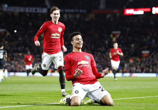 Mason Greenwood scored two goals against AZ and earned the spot-kick. (Getty Images)