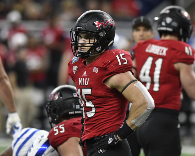 Northern Illinois Huskies defensive end Sutton Smith (15) had 14 sacks last fall. (AP Photo/Jose Juarez)