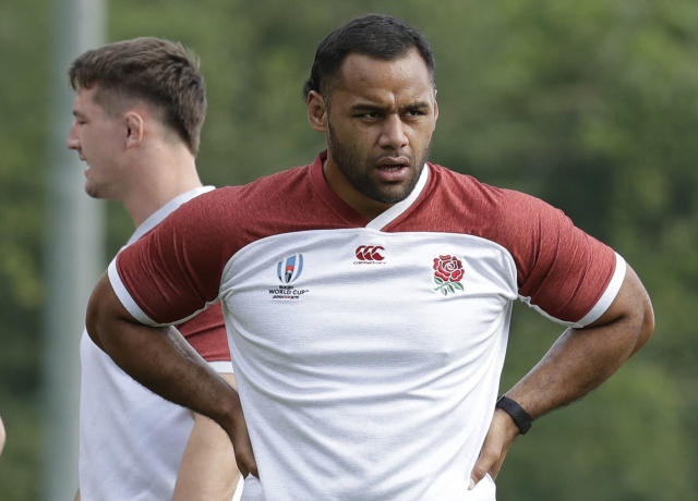 England rugby player Billy Vunipola trains at Beppu, Japan, Tuesday Oct. 15, 2019. England will play Australia in the quarterfinals of the Rugby World Cup on Oct. 19. (AP Photo/Aaron Favila)