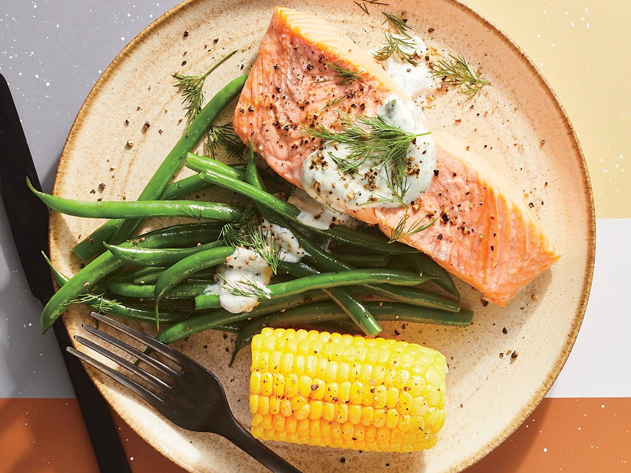 """<p>Steaming is a gentle cooking method that preserves the natural flavors of all the components of this 15-minute meal.</p> <p><a href=""""https://www.myrecipes.com/recipe/simply-steamed-salmon-and-corn-with-dill-yogurt"""">Simply Steamed Salmon and Corn With Dill Yogurt Recipe</a></p>"""