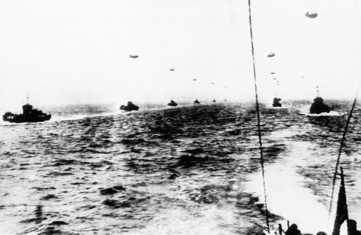 Off the British coast, this huge fleet of warships, transports and landing craft awaits the signal to get underway for the Allied invasion of northern France on June 6, 1944. (Photo: AP)