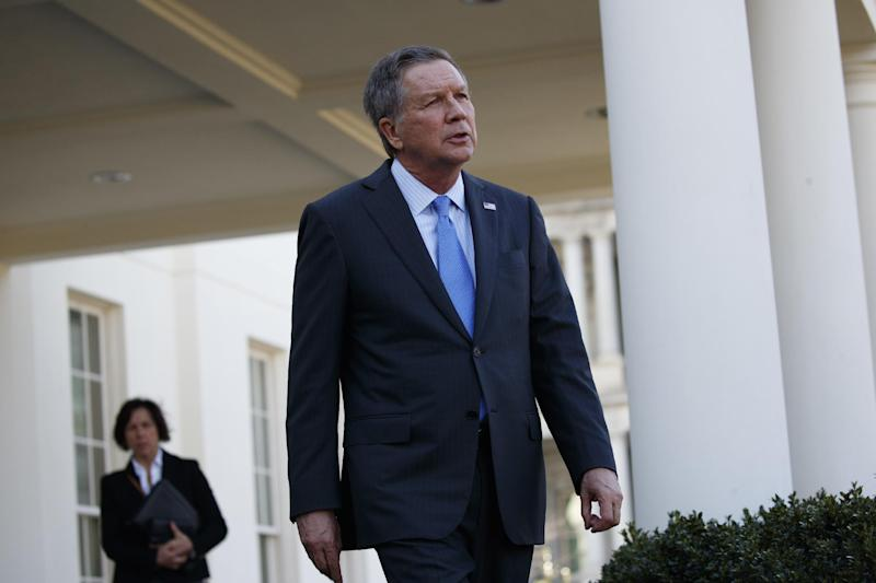 FILE - In this Feb. 24, 2017 file photo, Ohio Gov. John Kasich walks out of the White House in Washington. The House GOP health care bill has competition from other Republicans, a group of governors who've made their own proposal about how to overhaul Medicaid for low-income people. They're hoping GOP senators will find their ideas more persuasive. (AP Photo/Evan Vucci, File)