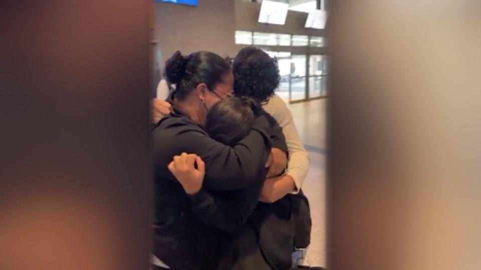 The moment Ariany reunited with her mother and brother