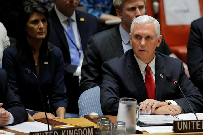 Vice President Mike Pence at a meeting of the Security Council on Wednesday. (Photo: Lucas Jackson/Reuters)