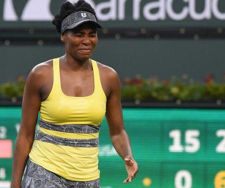 Mar 16, 2017; Indian Wells, CA, USA; Venus Williams (USA) grimaces after missing a point in the quarter final match against Elena Vesnina (RUS) in the BNP Paribas Open at the Indian Wells Tennis Garden. Vesina won 6-2, 4-6, 6-3. Jayne Kamin-Oncea-USA TODAY Sports