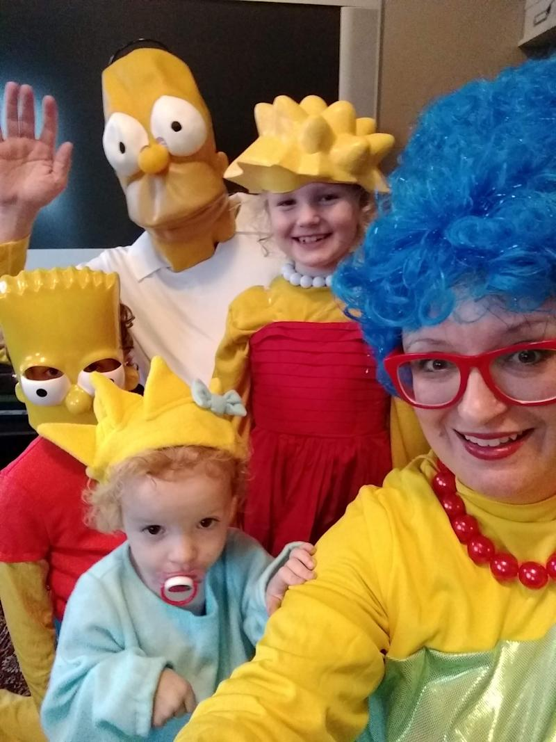 """The Sutherland family members were all the perfect age to take on the roles of the characters from """"The Simpsons."""" (Photo: Photo: Colleen Sutherland)"""