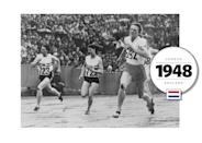 """Fanny Blankers-Koen, who competed at the 1948 Summer Olympics in London as a 30-year-old mother of two, was often referred to as """"the Flying Housewife."""" Winning four gold medals for the Netherlands, Blankers-Koen and her teammates wore baggy shorts and t-shirts. (Getty Images)"""