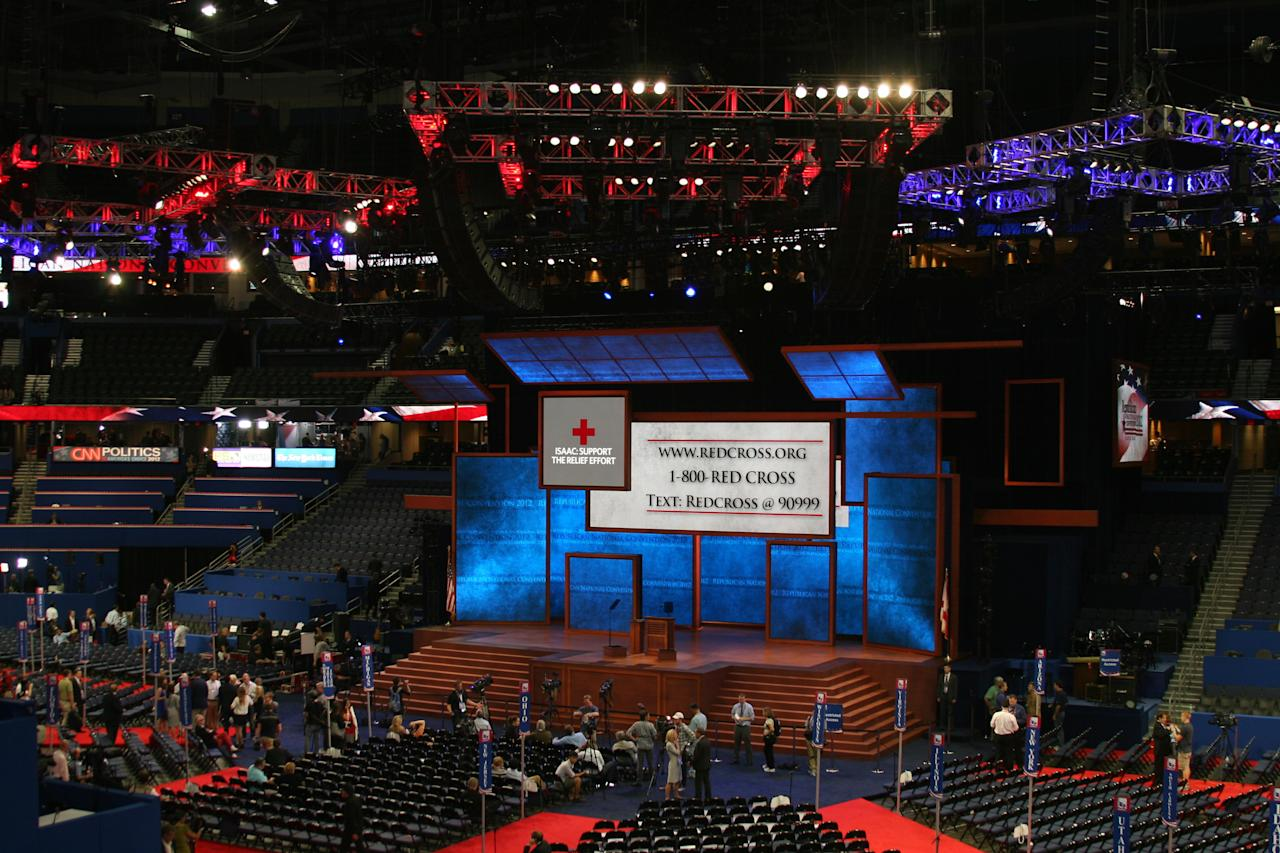 Members of the media set up before the speeches begin at the Republican National Convention on Wednesday, Aug. 29 2012. (Torrey AndersonSchoepe/Yahoo! News)