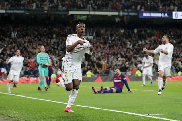 Vinícius Júnior celebrates after scoring the winning goal for Real Madrid against Barcelona in Sunday's El Clásico. (Photo by Gonzalo Arroyo Moreno/Getty Images)