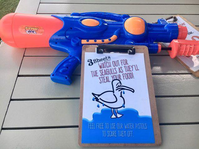The water pistols used at 3Sheets to keep the seagulls under control.