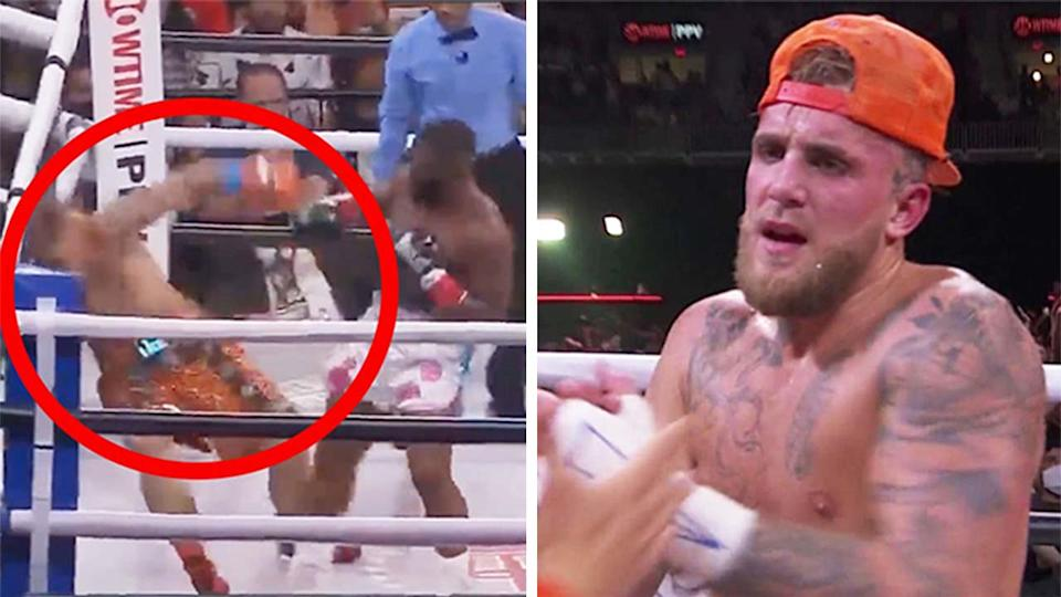 Jake Paul (pictured right) frustrated after the fight and (pictured left) being punched by Tyron Woodley in their pro boxing fight.