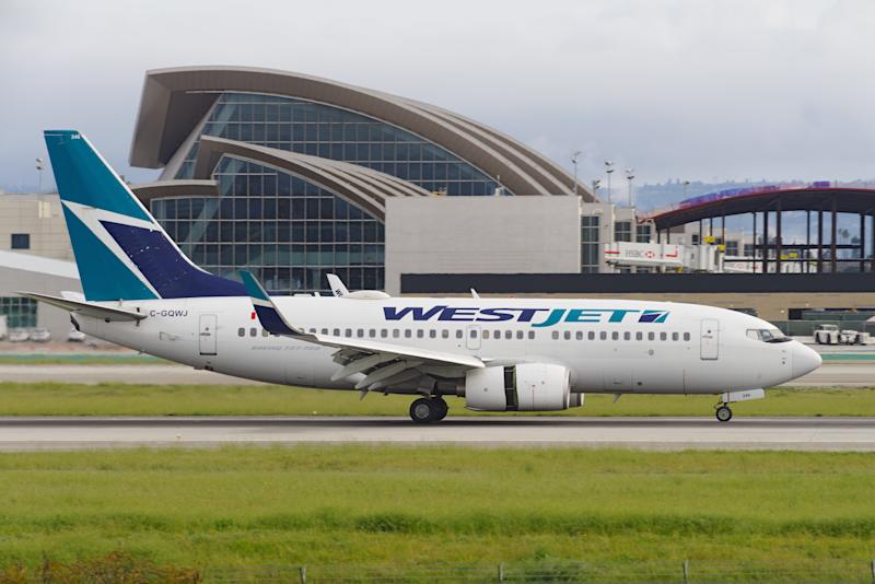 Image showing a Westjet Airlines Boeing 737 taking off from the Los Angeles International Airport, LAX.