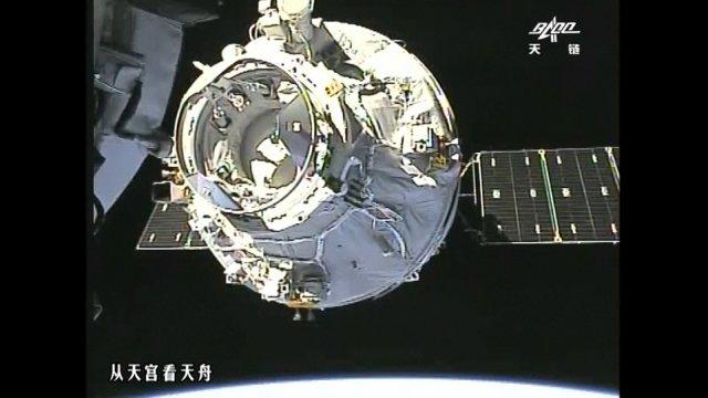 nmanned Chinese cargo ship Tianzhou-1 docks with space lab