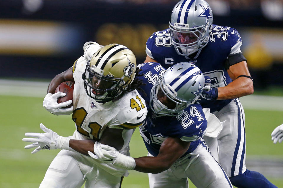 New Orleans Saints running back Alvin Kamara's numbers are down this season. (AP Photo/Butch Dill)