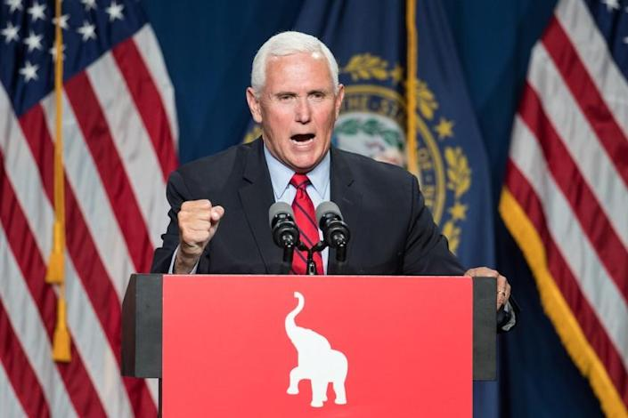 MANCHESTER, NH - JUNE 03: Former Vice President Mike Pence addresses the GOP Lincoln-Reagan Dinner on June 3, 2021 in Manchester, New Hampshire. Pence's visit to New Hampshire would be the first time back since he was Vice President. (Photo by Scott Eisen/Getty Images)