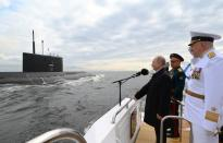 Russia's President Putin attends the Navy Day parade in Saint Petersburg