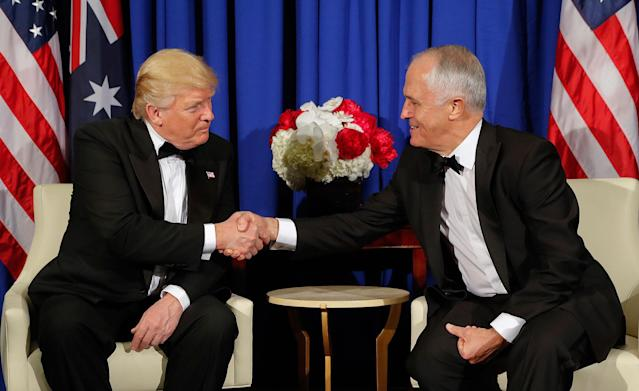 <p>President Donald Trump and Australian Prime Minister Malcolm Turnbull shake hands during their meeting aboard the USS Intrepid, a decommissioned aircraft carrier docked in the Hudson River in New York, Thursday, May 4, 2017. (Photo: Pablo Martinez Monsivais/AP) </p>